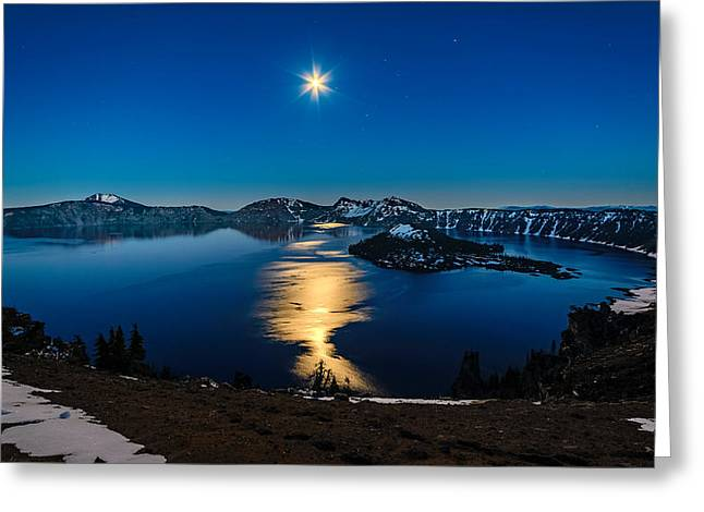 Crater Lake Moonlight Greeting Card