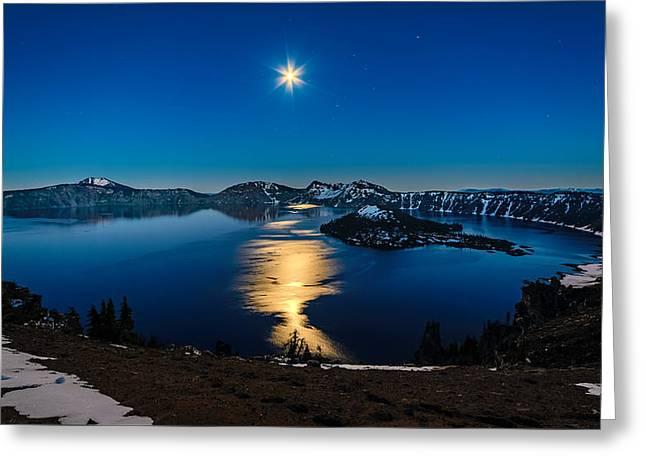 Crater Lake Moonlight Greeting Card