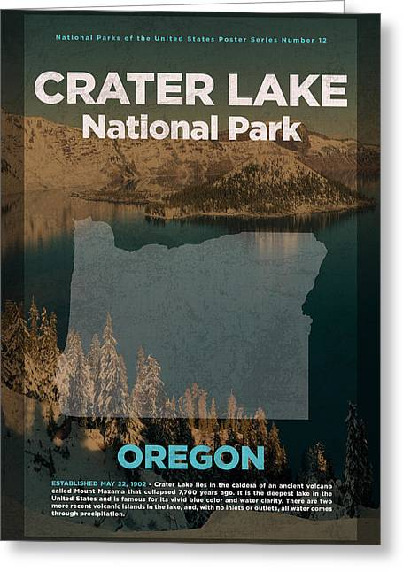 Crater Lake National Park In Oregon Travel Poster Series Of National Parks Number 12 Greeting Card by Design Turnpike