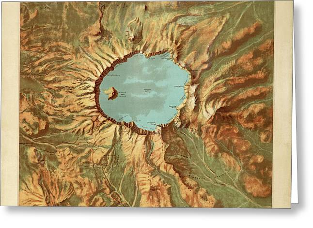 Crater Lake National Park Map By The Us Geological Survey - 1915 Greeting Card