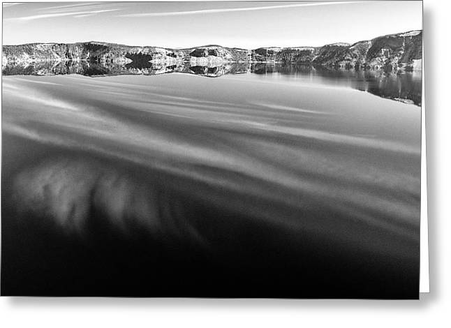 Crater Lake Reflections B W Greeting Card by Frank Wilson