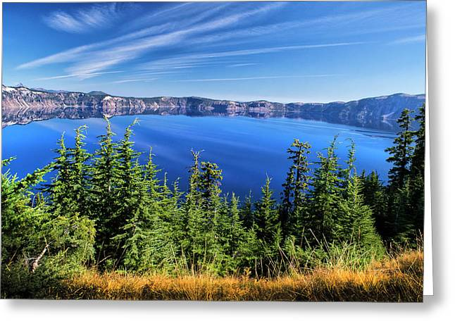 Greeting Card featuring the photograph Crater Lake Rim Reflections by Frank Wilson