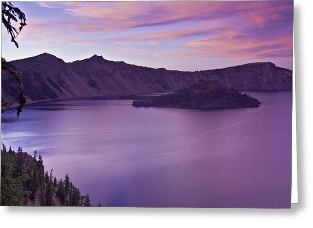 Crater Lake Sunset Greeting Card