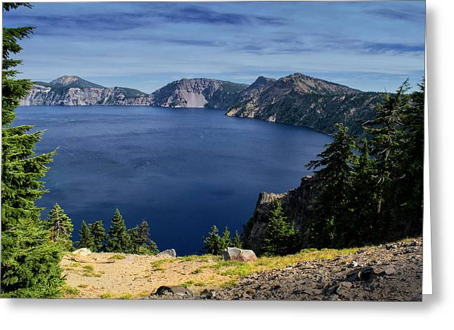 Greeting Card featuring the photograph Crater Lake View by Frank Wilson