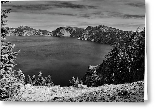 Greeting Card featuring the photograph Crater Lake View In Bw by Frank Wilson