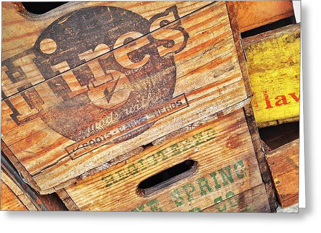 Greeting Card featuring the photograph Crates For Hires by Olivier Calas