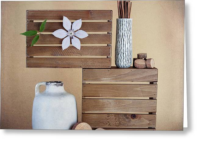 Crates With Flower Still Life Greeting Card by Tom Mc Nemar
