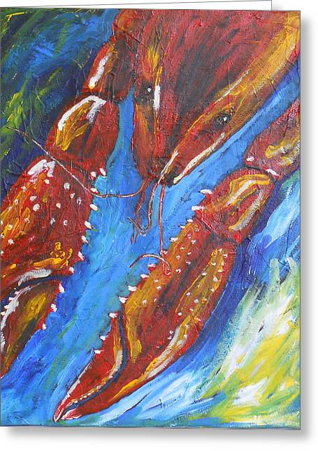 Boiled Crawfish Greeting Cards - Crawfish on Blue Greeting Card by Candace Nalepa