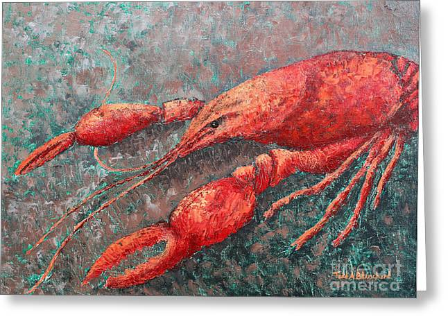 Greeting Card featuring the painting Crawfish by Todd Blanchard