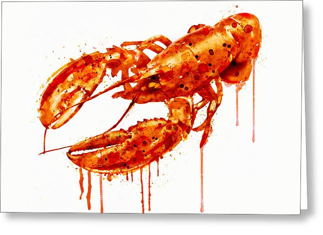 Crayfish Watercolor Painting Greeting Card by Marian Voicu