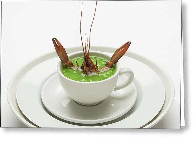 Crayfish With Pea Soup Greeting Card by Frank Lee
