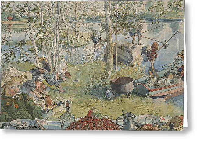 Crayfishing. From A Home Greeting Card by Carl Larsson