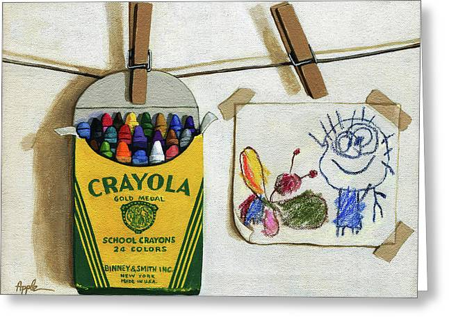 Box Of Crayons And Child's Drawing Realistic Still Life Painting Greeting Card