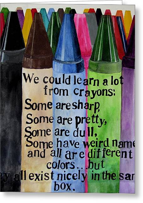 Crayons Greeting Card by Brenda Alcorn