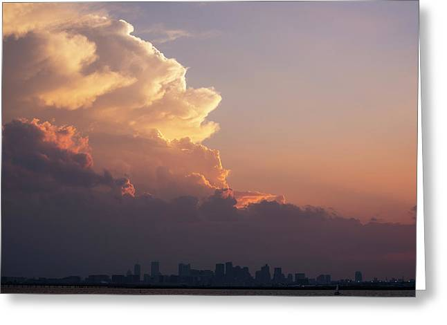 Crazy Clouds Over The Boston Skyline Boston Ma Winthrop Ma Greeting Card by Toby McGuire