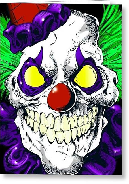 Crazy Clown Greeting Card by Ray Amante