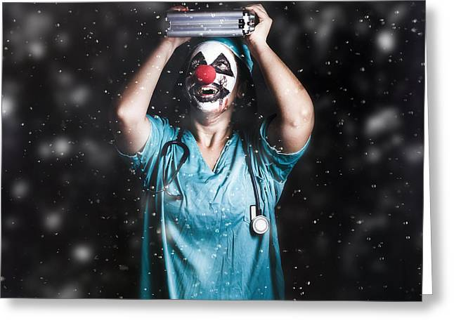 Crazy Doctor Clown Laughing In Rain Greeting Card