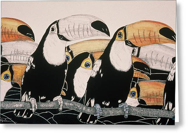 Crazy For Toucans Greeting Card by Dee Van Houten
