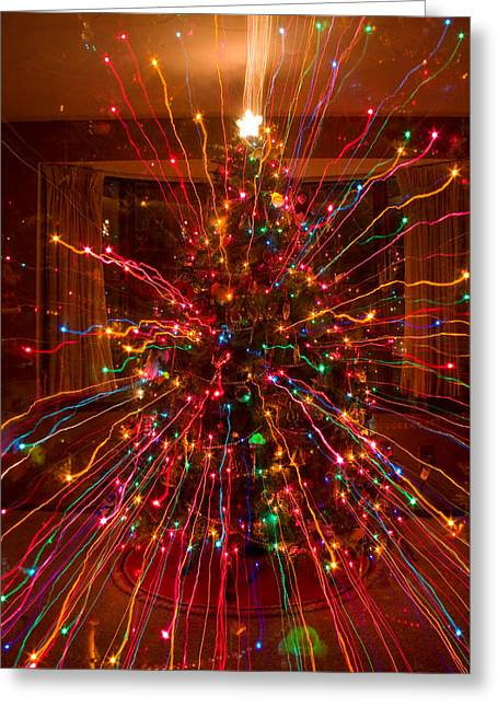 Crazy Fun Christmas Tree Lights Abstract Print Greeting Card by James BO  Insogna
