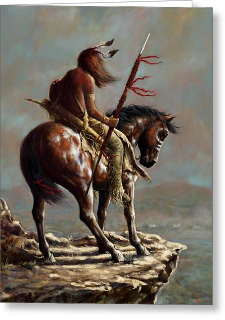 Crazy Horse_digital Study Greeting Card by Harvie Brown