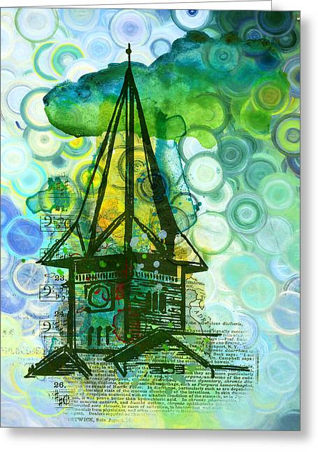 Crazy House In The Clouds Whimsy Greeting Card by Georgiana Romanovna