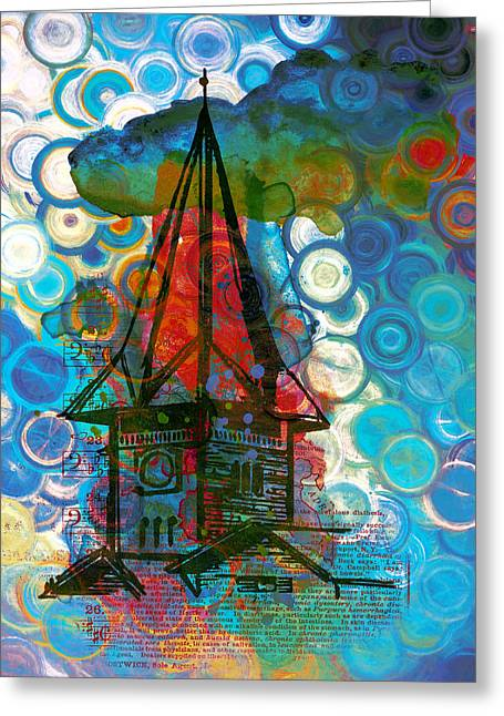 Crazy Red House In The Clouds Whimsy Greeting Card by Georgiana Romanovna