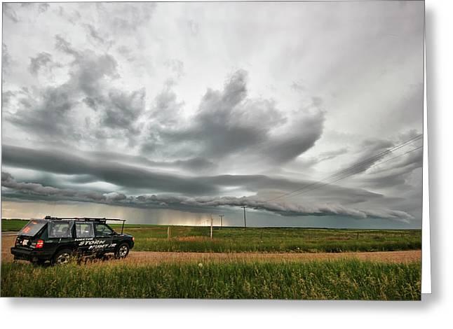 Crazy Shelf Cloud Near Ponteix Sk. Greeting Card by Ryan Crouse