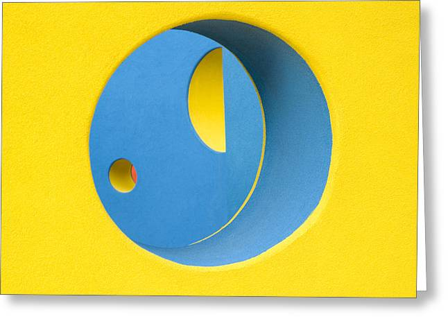 Crazy Sideways Smiley Face Greeting Card by John Gusky