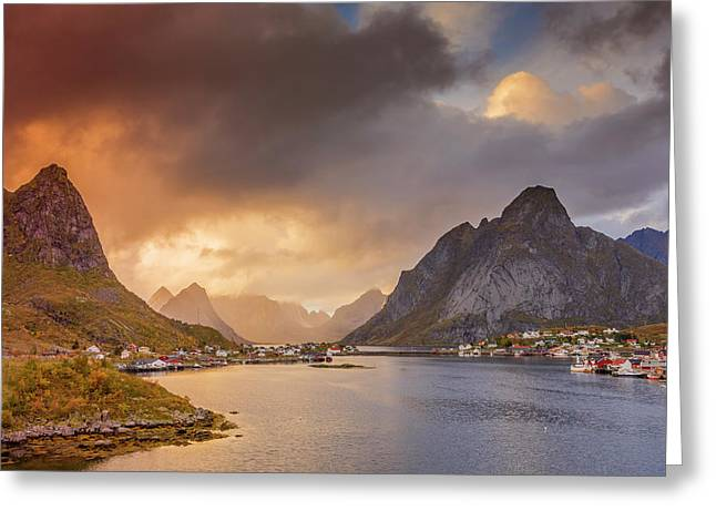Crazy Sunset In Lofoten Greeting Card