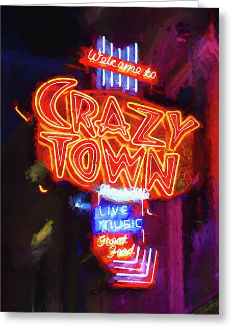 Crazy Town - Impressionistic Greeting Card by Stephen Stookey