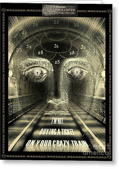 Greeting Card featuring the digital art Crazy Train by Lora Serra