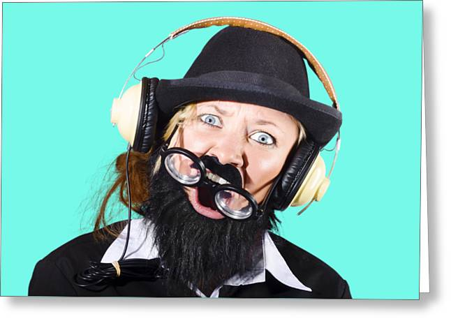 Crazy Woman With Headphones Greeting Card