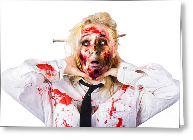 Crazy Zombie Business Woman In Struggle  Greeting Card by Jorgo Photography - Wall Art Gallery
