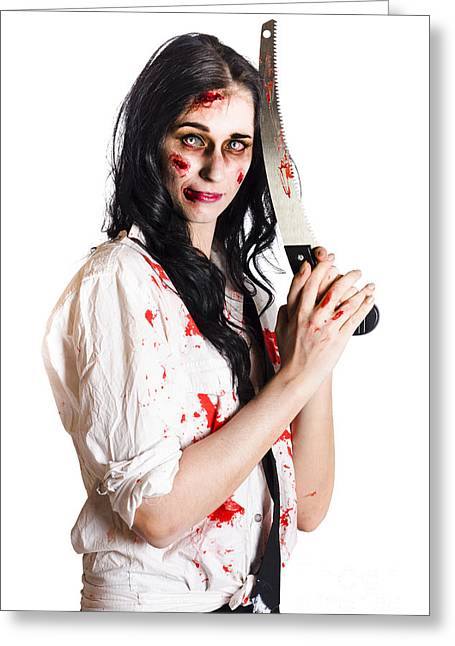 Crazy Zombie With Butcher Saw Greeting Card