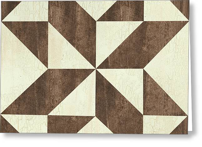 Cream And Brown Quilt Greeting Card by Debbie DeWitt