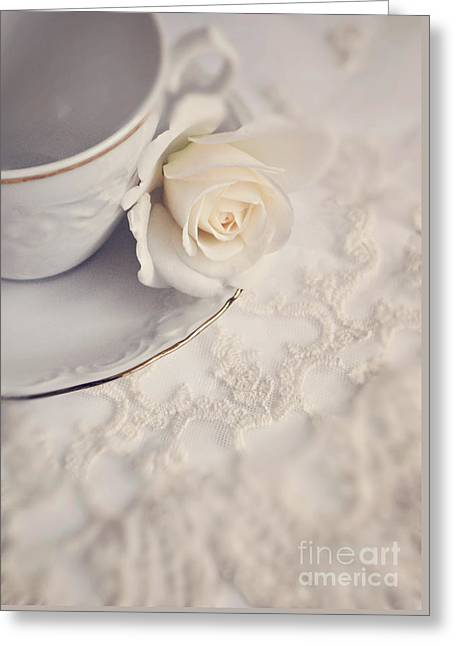 Cream Rose On White China Cup Greeting Card by Lyn Randle