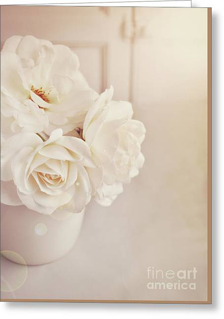 Cream Roses In Vase Greeting Card