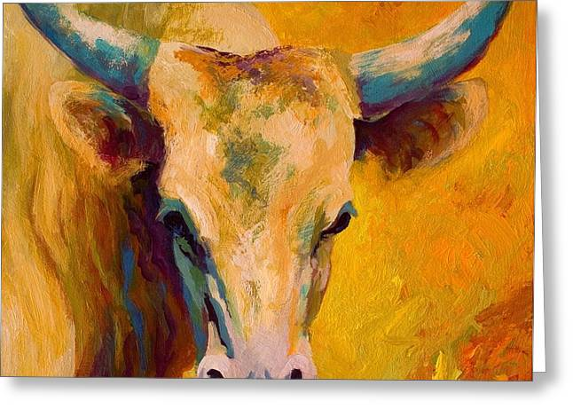 Creamy Texan - Longhorn Greeting Card by Marion Rose