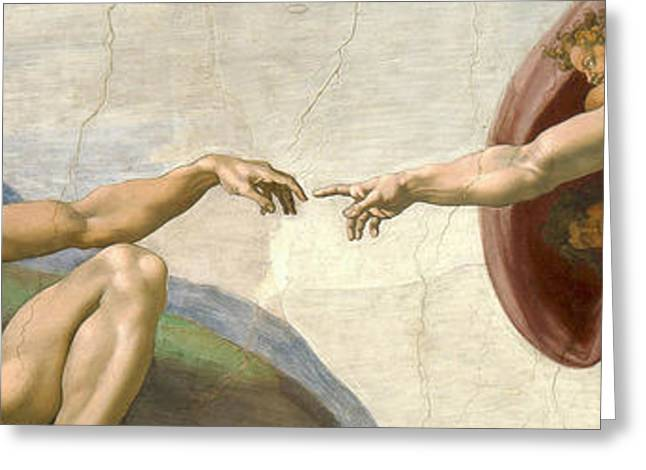 Creation Of Adam - Painted By Michelangelo Greeting Card by War Is Hell Store
