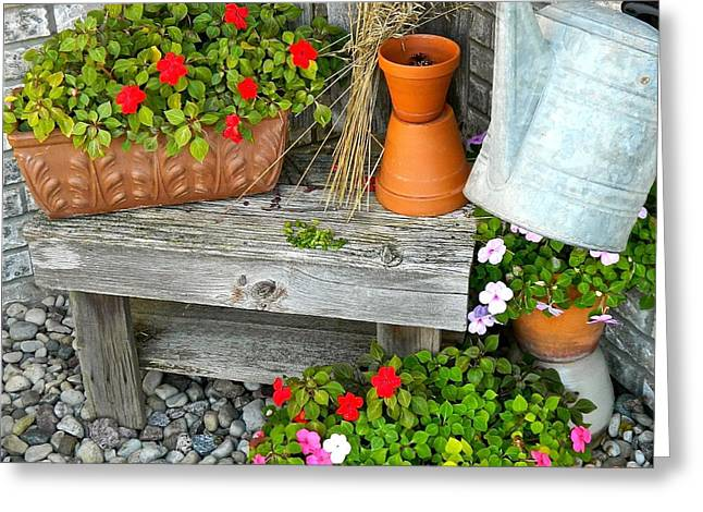 Creative Garden Setting Greeting Card by Randy Rosenberger