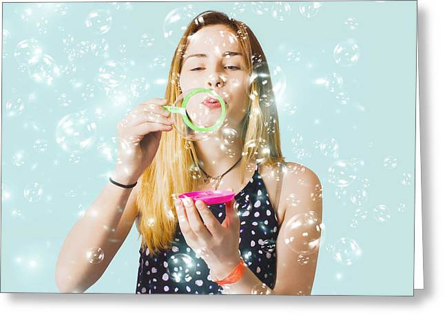 Creative Woman Blowing Birthday Party Bubbles Greeting Card by Jorgo Photography - Wall Art Gallery