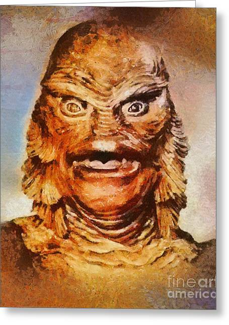 Creature From The Black Lagoon, Vintage Horror Greeting Card by Mary Bassett