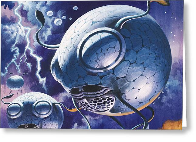 Creatures In Outer Space  Greeting Card by Wilf Hardy