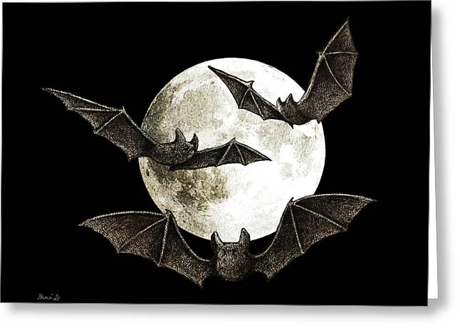 Creatures Of The Night Greeting Card by Little Bunny Sunshine