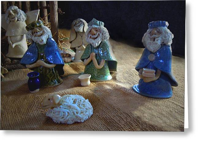 Holiday Ceramics Greeting Cards - Creche Kings Greeting Card by Nancy Griswold
