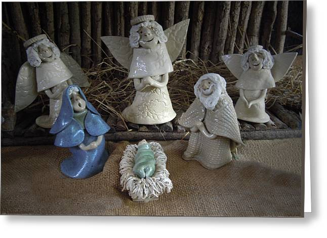 Creche Mary Joseph And Baby Jesus Greeting Card by Nancy Griswold