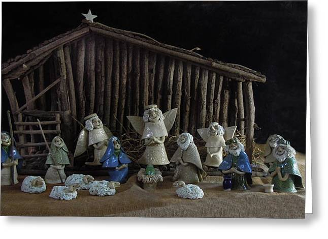 Creche Sraight On View Greeting Card by Nancy Griswold