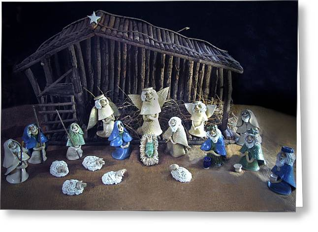 Creche Top View  Greeting Card by Nancy Griswold