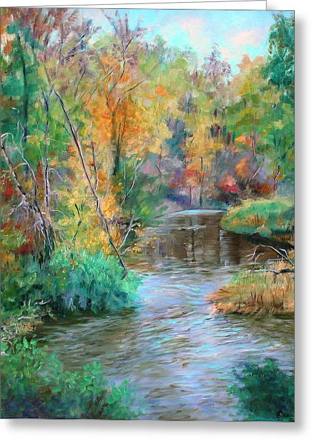 Finger Lakes Paintings Greeting Cards - Creek at Whitney Point  NY Greeting Card by Ethel Vrana