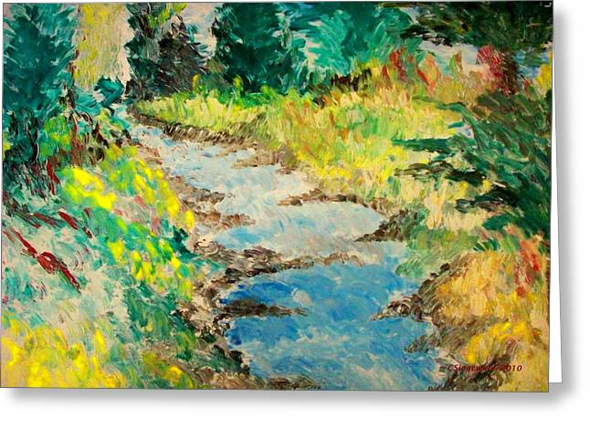Creek Greeting Card by Cary Singewald